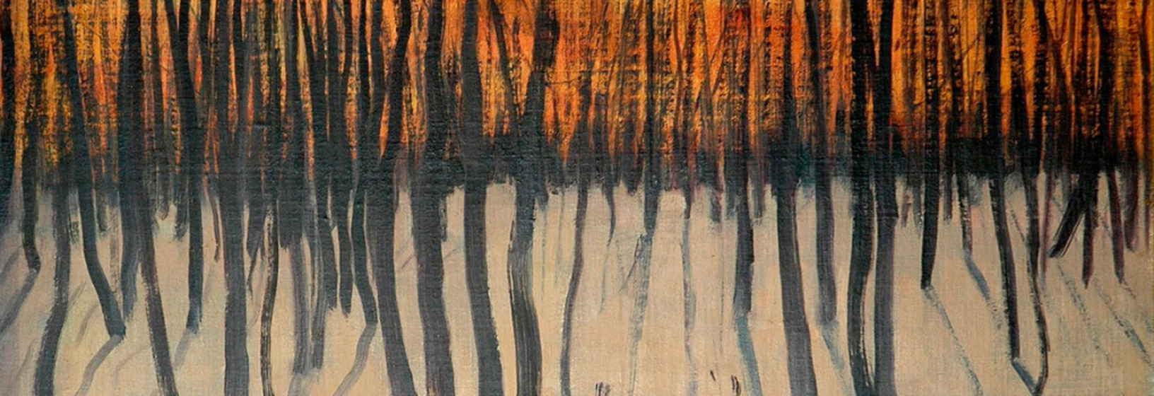 a painting of burnt trees with orange fire at the horizon