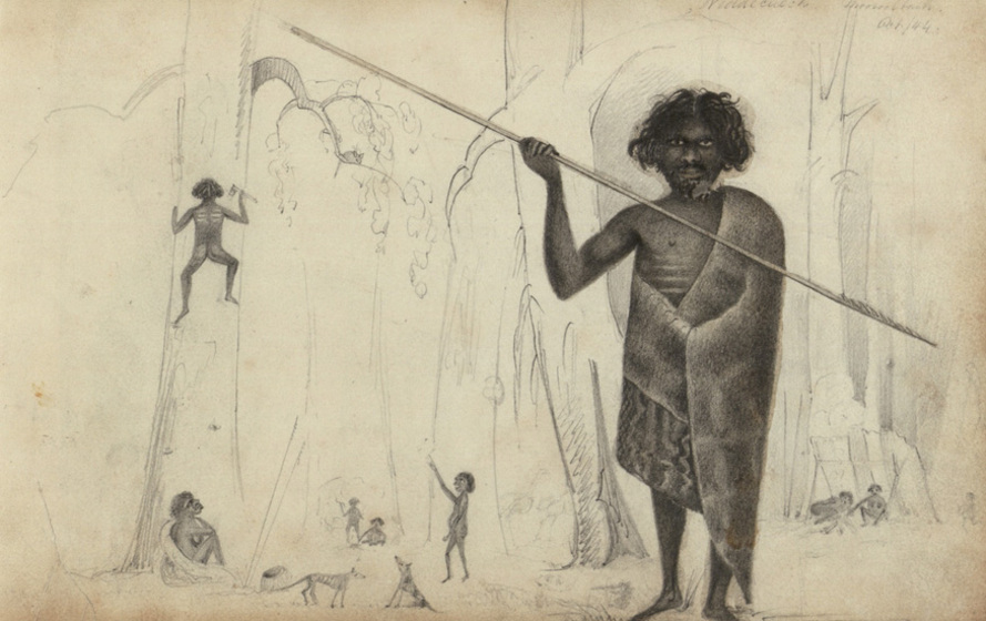 a man stands in the foreground, drawn in possum sking cloak with spearin hand - busy daily life takes place around him